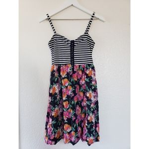 Fun patterned floral striped dress